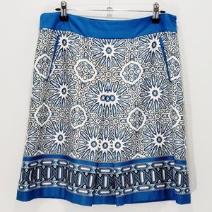 Ann Taylor Skirt Pleat Front Patterned Lined Sz 6